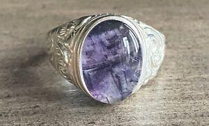 Rare Derbyshire Blue John Silver Gents Patterned Signet Ring Size R J2636