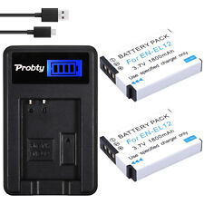 2Pcs EN-EL12 EL12 batteries + USB LCD Charger For Nikon S1000 S1200pj S31 S6000