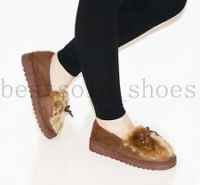 Womens Ladies Slip On Suede Fur Lined Loafers Flats Pumps Winter Slippers Shoes