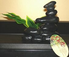 Blue Ribbon Exotic Environments Zen Spa Stones with Plant - Smooth Black