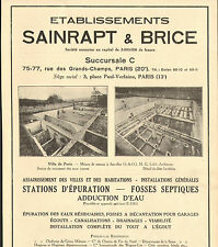 PARIS RUE GRANDS-CHAMPS ETS SAINRAPT ET BRICE STATIONS EPURATION PUBLICITE 1934