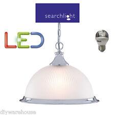 Searchlight 1044 American Diner Satin Silver Chrome Pendant Light