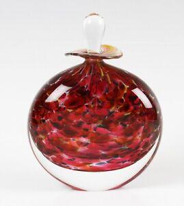Peter Layton studio glass Hydrangea pattern perfume bottle and stopper, signed