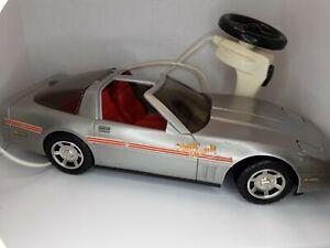 "Vtg 1985 Playmates 19"" Silver Super Corvette Remote Wired Car Barbie Size Works"
