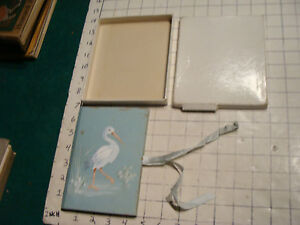 unused vintage HAND PAINTED Stork cover BABY BOOK, in box, light stain on cover