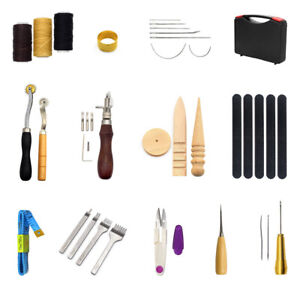 59PCS Leather Craft Art Hand DIY Tool Stitching Carving Working Sewing +Toolbox