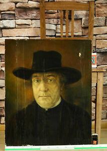 Wilhelm Henneberger 1899-1960 Ölgemälde antik von 1946 Portrait Hochwürden Abt