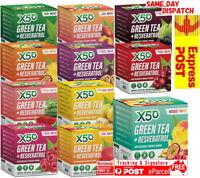 X50 GREEN TEA 60 / 30 SERVES + RESVERATROL ANITIOXIDANT ENERGYTRIBECA HEALTH