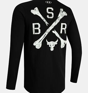 Men's Under Armour Project Rock BSR Black Long Sleeve Shirt Size Large
