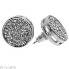 Round Micro Pave Stone Earrings 15 MM Silver Tone Circle Huge Iced-Out Hip Hop