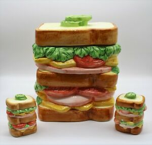 "1993  OGGI Deli Sandwich 8"" Cookie Jar w/Salt & Pepper Sandwiches"