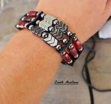 Cherokee made William Lattie Cert Auth Native American Bracelet w/Red Horn 3 std
