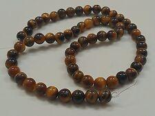 10 Tiger's Eye Natural Gemstone Beads, 6mm, Hole: 1mm