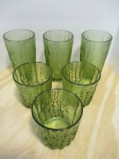 "6 Vintage Green Glass Tumbler Drinking Glasses - Textured 5"" 3"""