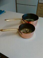 Pair of Vintage Tagus Portugal Copper & Brass Saucepans (1934)