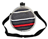 2 Quart Metal Canteen Wool Covered Canvas Strap Zinc/Galvanized