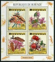 Burundi 2014 MNH Beetles Beetle 4v M/S Flora Flowers Insects Stamps