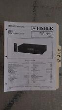 Fisher rs-881 service manual original repair book stereo receiver tuner radio