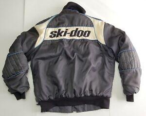 Vintage SKI-DOO Mens M Black/Blue/White Embroidered Snowmobile Bombardier Jacket