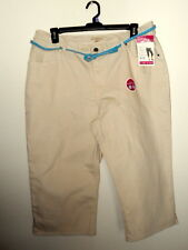LEE RIDERS INSTANTLY SLIMS YOU WOMANS 24W OATMEAL SUMMER CAPRI PANTS W/ BELT NWT