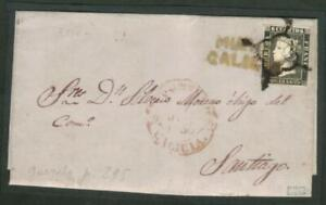 ESPAGNE N°1- 6 cuartos  ISABELL II year 1850 USED ON LETTER TO SANTIAGO  CV ++ €