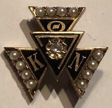 14k Theta Kappa Nu Fraternity Pin Diamond Pearls LXA