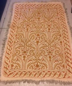 Hand Made Numdha Area Rug Numdah Tan & Orange 4X6 Feet Made in Kashmir