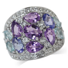 Natural Amethyst, Tanzanite&Blue Topaz 925 Sterling Silver Cocktail Ring SZ 8