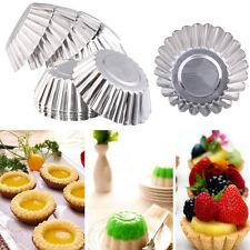 20PCS Egg Tart Reusable Aluminum Cupcake Cake Cookie Mold Mould Tin Baking Tool