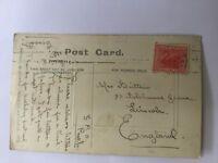 old vintage postcard post card Dumbleyung Western Australia red penny swan stamp