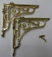 "7"" PAIR OF BRASS ON IRON  Victorian scroll ornate shelf support wall brackets"