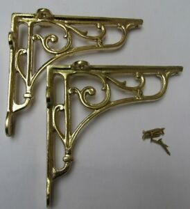 "6"" PAIR OF BRASS ON IRON Victorian scroll ornate shelf support wall brackets"