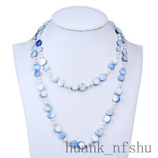 """Natural Mother Of Pearl and Freshwater Pearl Necklace 62"""" Long Necklace"""