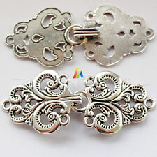 SEW ON FANCY Antique Silver METAL Decorative Hook & Loop CLASP  65x30mm
