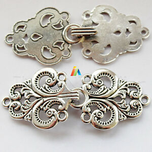 SEW ON FANCY Antique Silver METAL Decorative Hook & Loop CLASP  65x28mm   _417