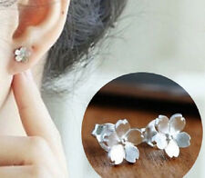Cherry Blossom Flower Earrings .925 Sterling Silver Stud Jewelry Earring Set New