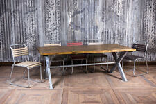 5FT INDUSTRIAL STYLE GALVANISED RESTAURANT TABLE WITH STEEL X FRAME AND PINE TOP