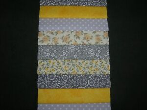 """48 x 5"""" CHARM PACK SQUARES GREY&YELLOW    100% COTTON PATCHWORK/QUILT/CRAFTS YEW"""