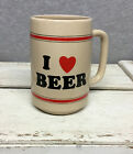 "VINTAGE RUSS BERRIE I LOVE (heart) BEER Mug Stein 5"" Milwaukee"