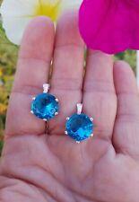 Big 10ctw Round Cut Neon Blue Topaz Leverback Stud Earrings, 18KRG/925
