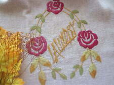 Antique ARTS AND CRAFTS Embroidered Linen Draw String Laundry Bag Glasgow Rose