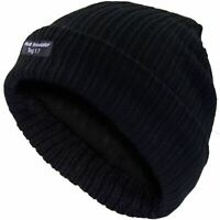 Mens Beanie Black Hat Insulated Thermal Knit Wooly Insulated 1.7 Tog Winter Hat