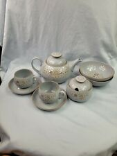 Denby Langley Fine Stoneware Reflections Teapot Cups Saucers Cereal Bowls .    2