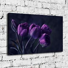 SR101902-Purple Rose Flower Home Decor HD Canvas Print Picture Wall Art Painting