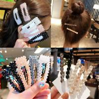 New Fashion Girls Crystal Hair Clip Snap Barrette Hairpin Bobby Hair Accessories
