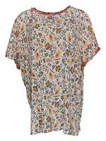 Isaac Mizrahi Live! Women's Top 3X Floral T-Shirt Contrast Sleeve Pink A375709