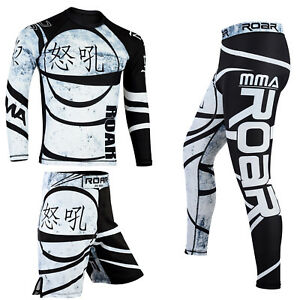 ROAR Mens Ninja No Gi Wear Set MMA BJJ Rash Guards & Shorts UFC Fighting Spats