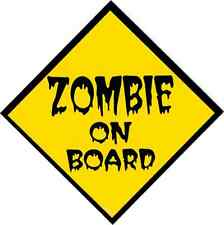 15785 Yellow & Black Zombie On Board Warning Sign Sticker / Decal Funny Horror