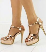 New Ladies Rose Gold Stiletto Strappy Tribute Patent Heel Sizes UK 3 4 5 6 7 8