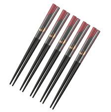 "5 Pairs 6.5"" Japanese Children Wooden Chopsticks Set Gold Moon on Gray & Maroon"